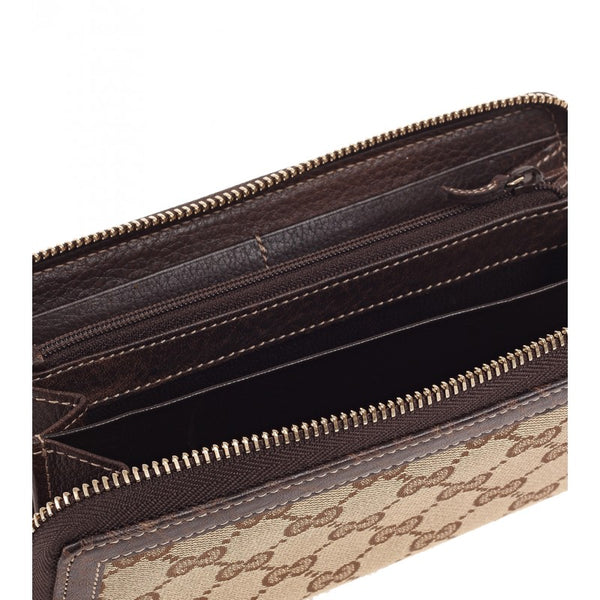 Beige canvas bamboo detail zip around wallet - Profile Fashion