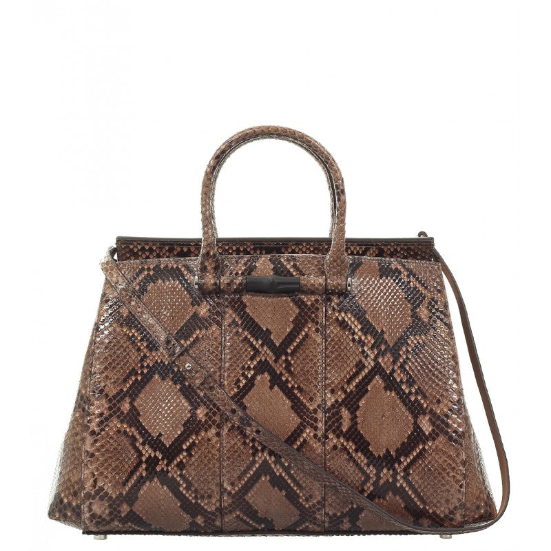 Beige & brown python bamboo tote bag - Profile Fashion