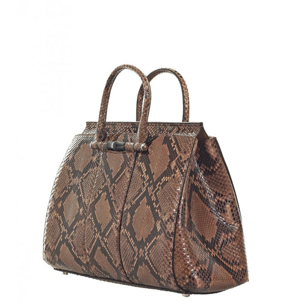 Beige & brown python bamboo tote bag