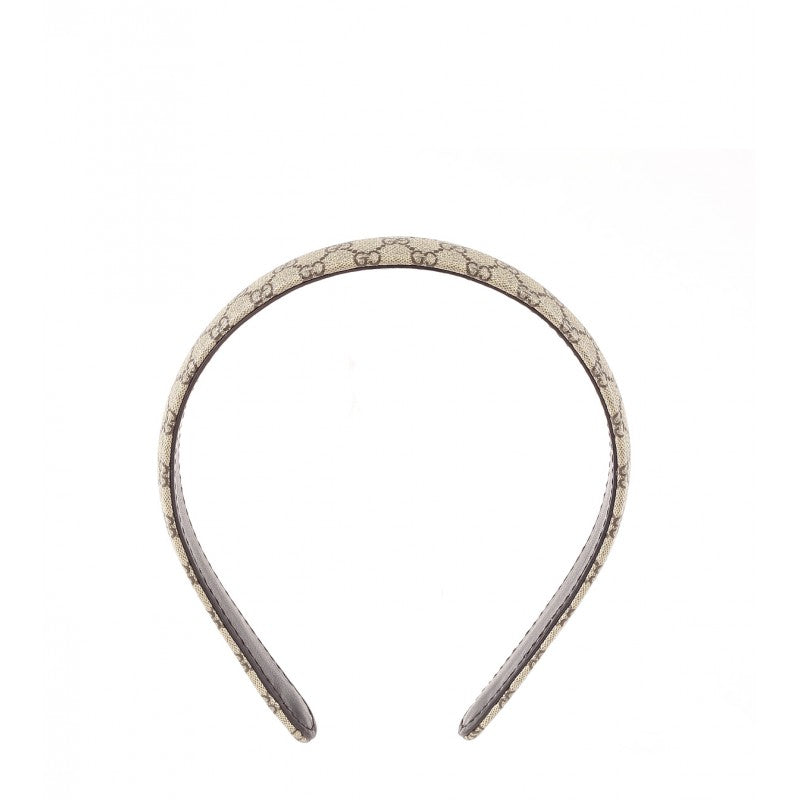 Beige & ebony GG fabric covered hairband - Profile Fashion