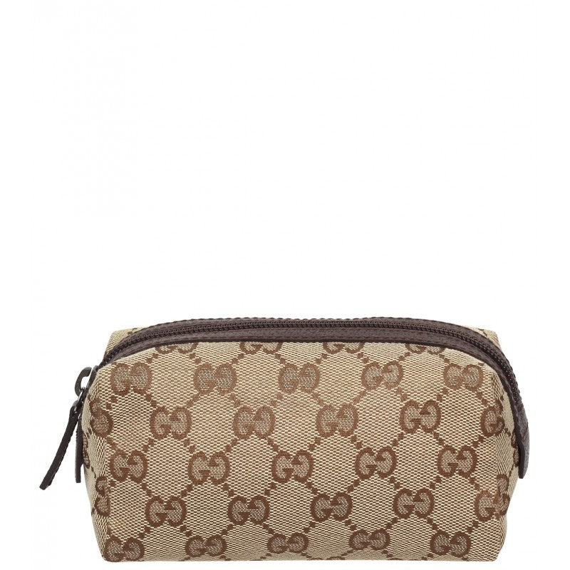 Beige & ebony GG fabric small cosmetic case - Profile Fashion