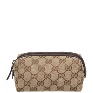 Beige & ebony GG fabric small cosmetic case