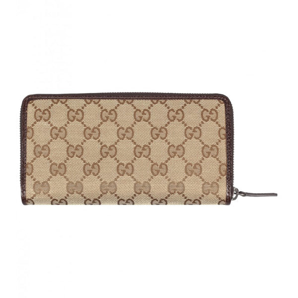 Beige & ebony GG fabric zip around wallet - Profile Fashion