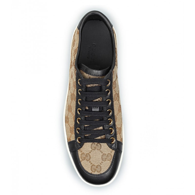 0f3237d133c ... Beige   ebony original GG canvas Brooklyn lace-up sneakers - Profile  Fashion ...