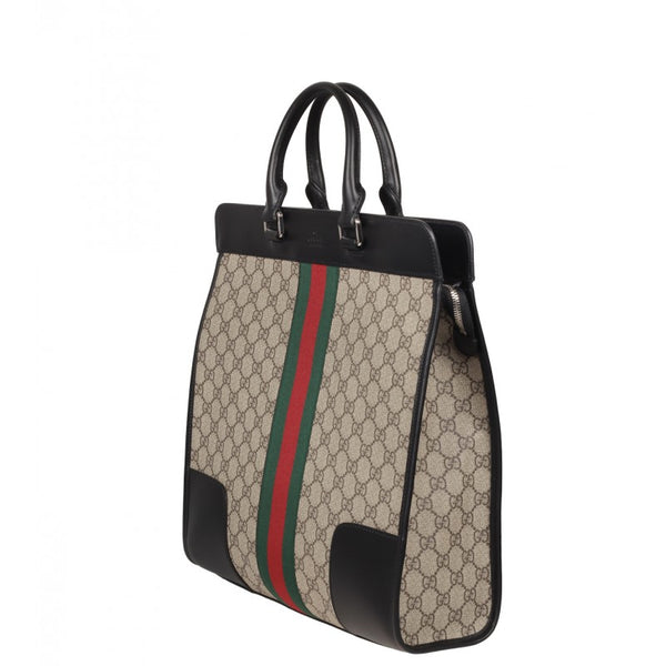 Beige & ebony web Stripe GG Supreme Canvas Tote Bag - Profile Fashion
