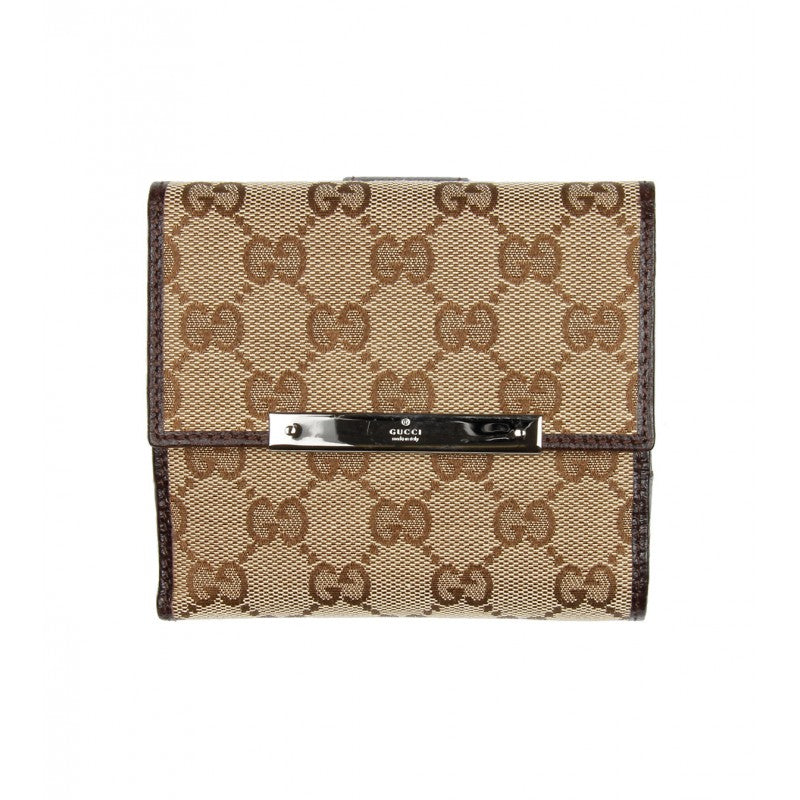 Beige & brown GG canvas french flap wallet - Profile Fashion