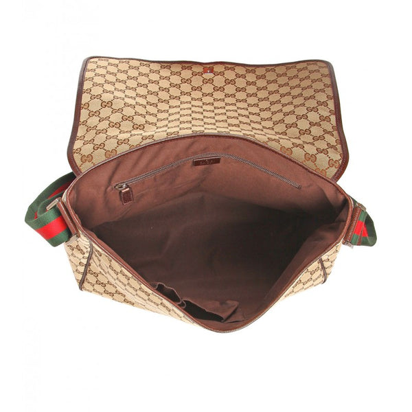 Beige & brown original GG fabric messenger bag