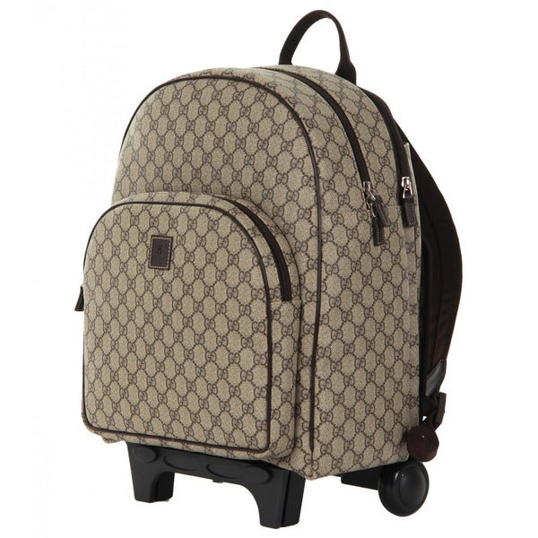 Beige Canvas Kid's Trolley Backpack - Profile Fashion