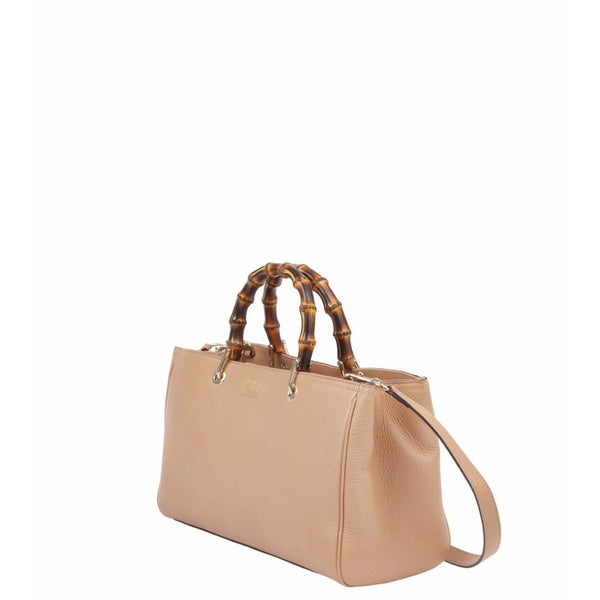 Beige leather bamboo shopper tote