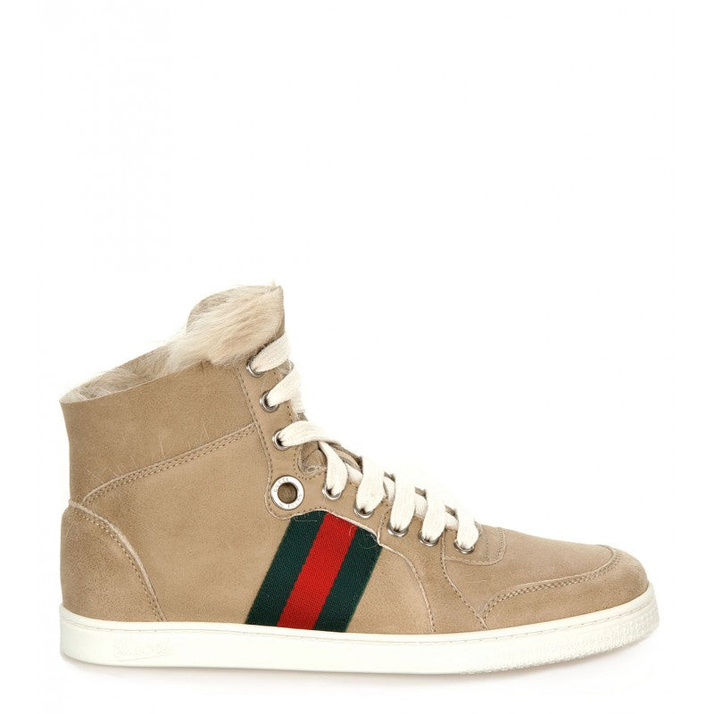 Beige leather fur trim high-top trainers