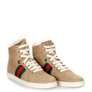 Beige leather fur trim high-top trainers - Profile Fashion
