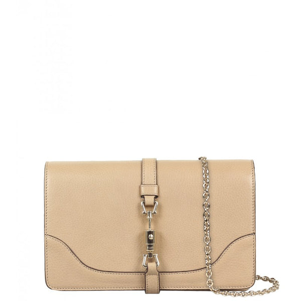 Beige leather shoulder bag