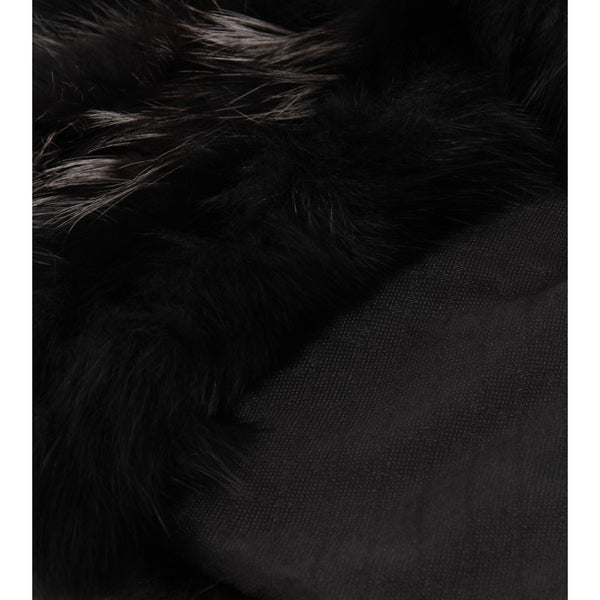 Black & grey diamante jacquard silk fur stole