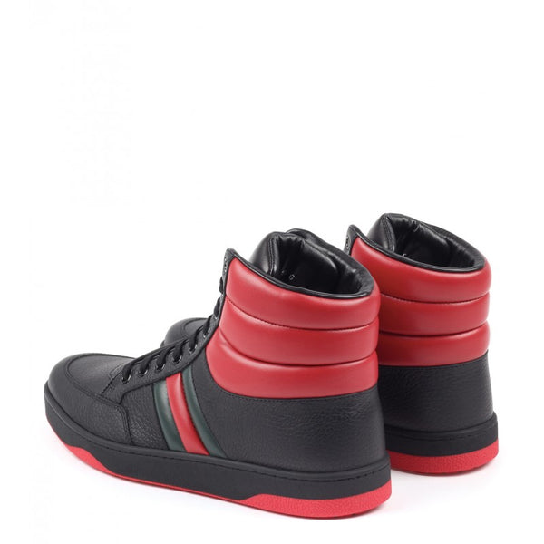 Black & red leather contrast padded high-top sneakers