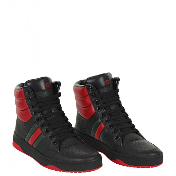 Black & red leather high top sneakers