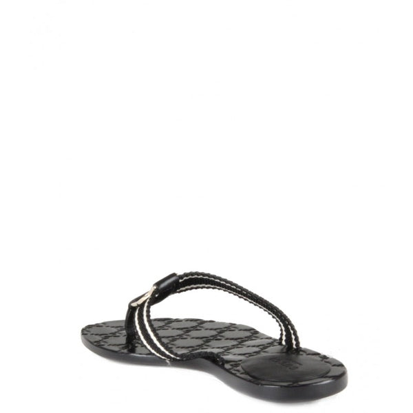 Black & white leather Guccissima flip-flops