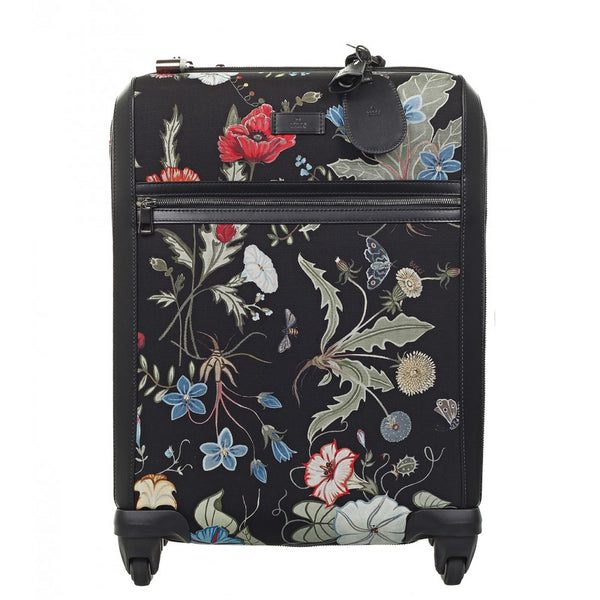 Black canvas Flora Knight print wheeled carry-on suitcase