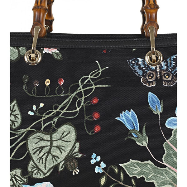 Black flora knight print canvas bamboo tote bag