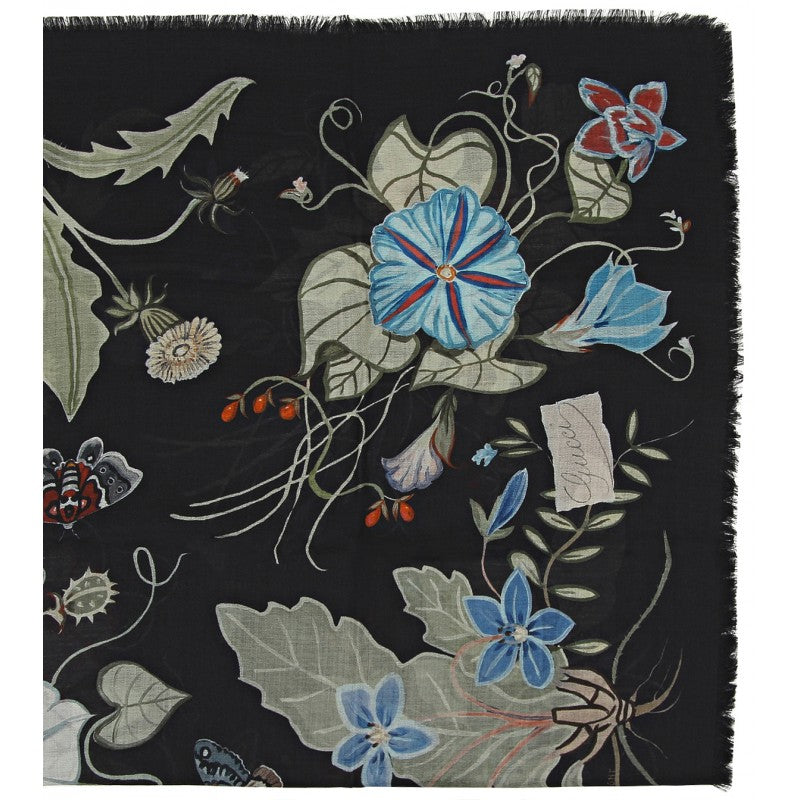 Black flora knight print wool silk shawl