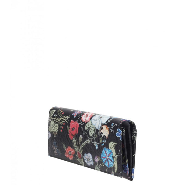 Black flora print flap wallet