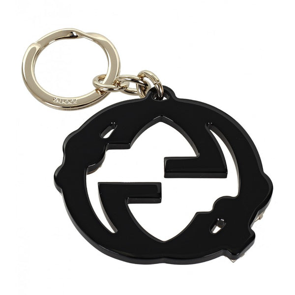 Gucci Black GG plexiglass crystals key ring