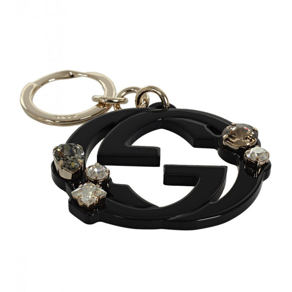 Black GG plexiglass crystals key ring