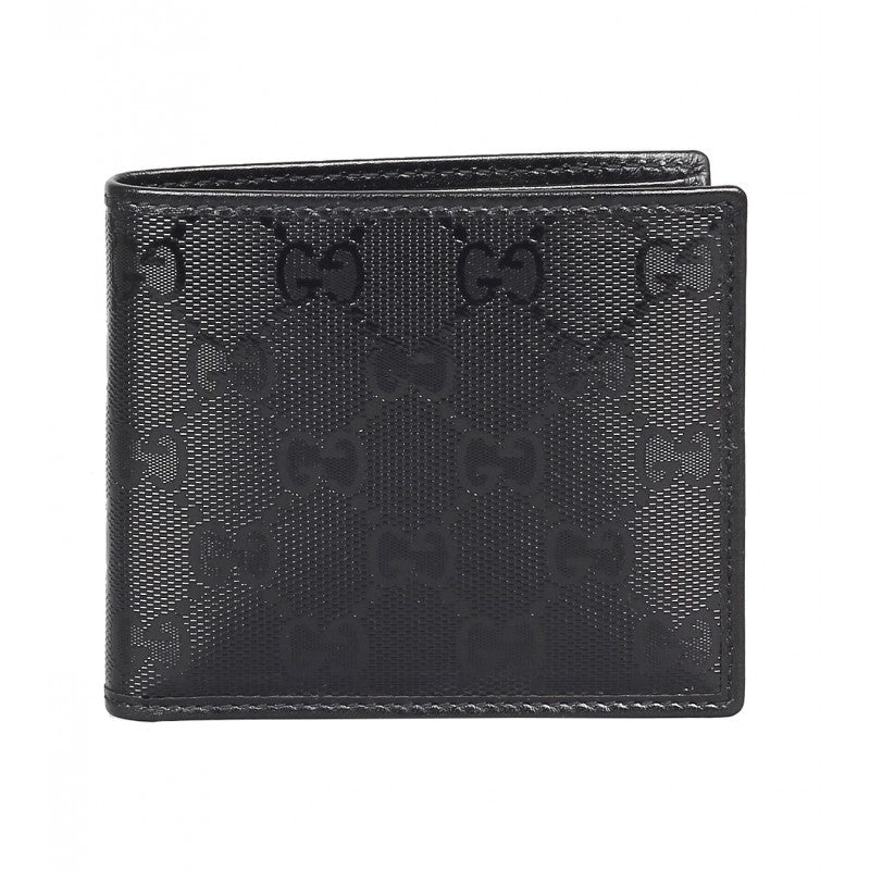 Black Imprimé Leather ID Wallet