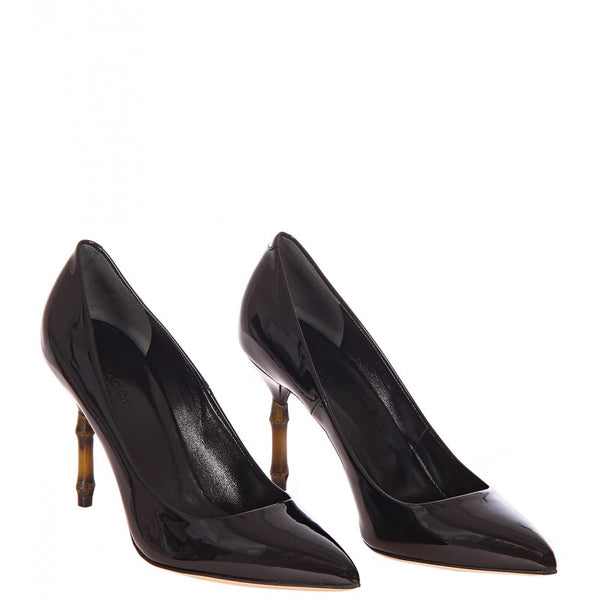 Black Kristen patent leather bamboo heel pump