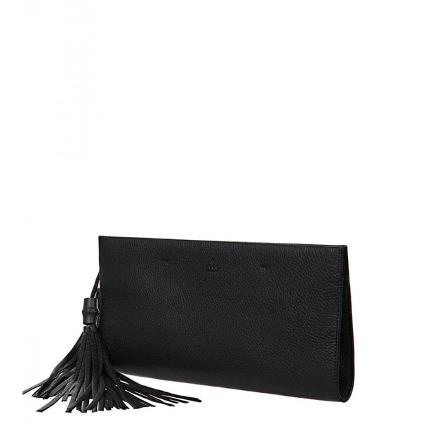 Black leather 'Nouveau' clutch bag