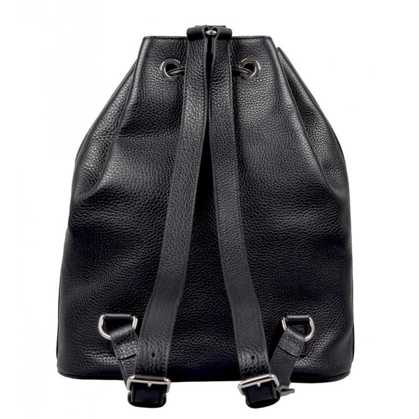 Black leather drawstring backpack