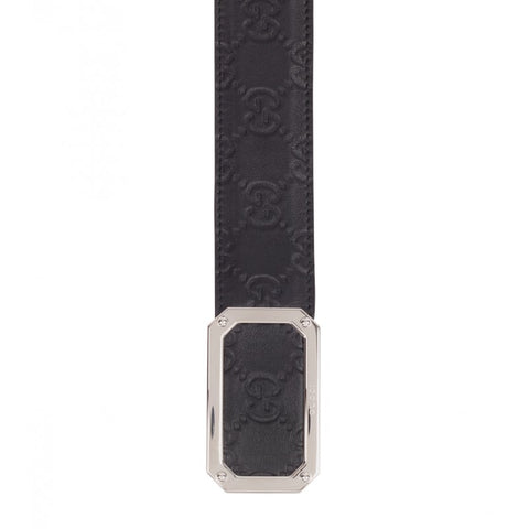 Black leather guccissima belt