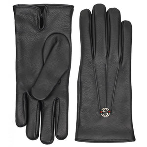 Black leather interlocking G gloves