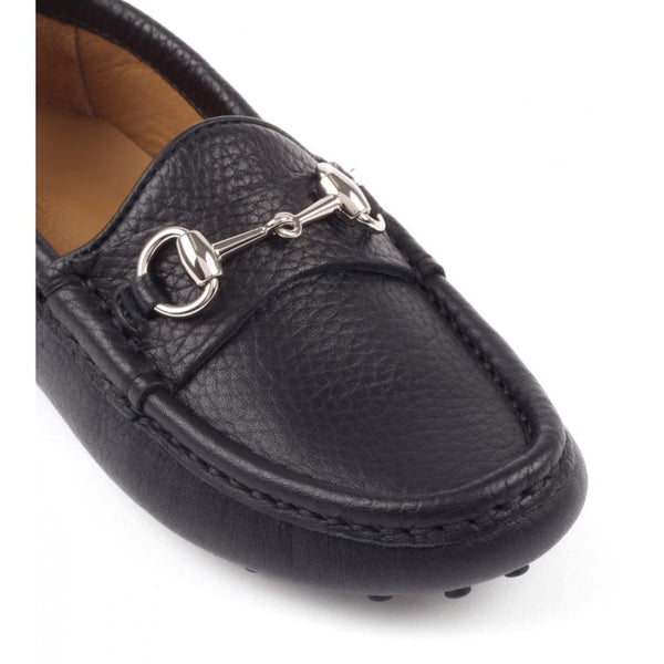 Black leather kid's horsebit detail driver shoes