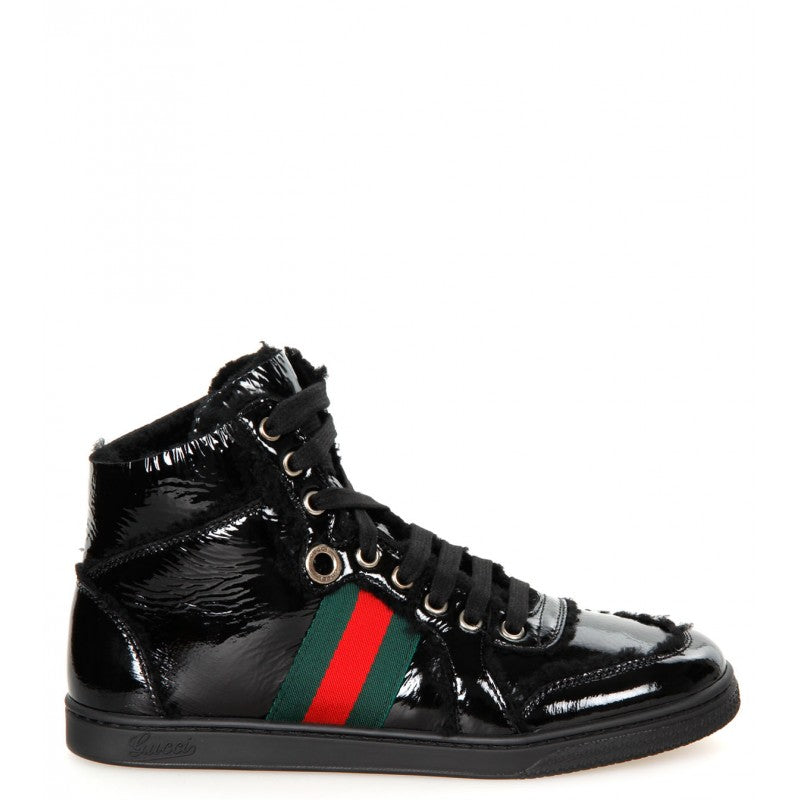 Black leather merino wool high-top trainers