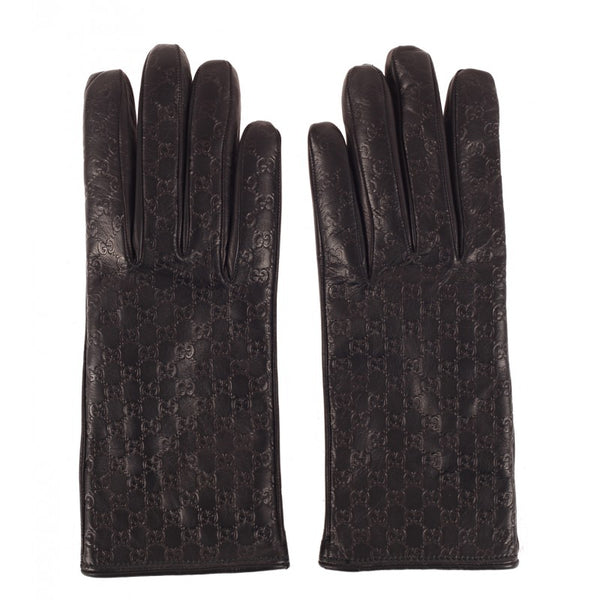 Black leather micro guccissima gloves