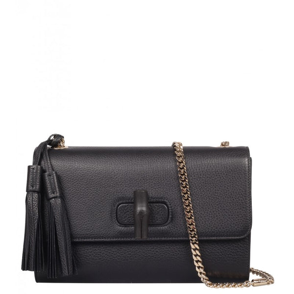 Black leather Miss Bamboo shoulder bag