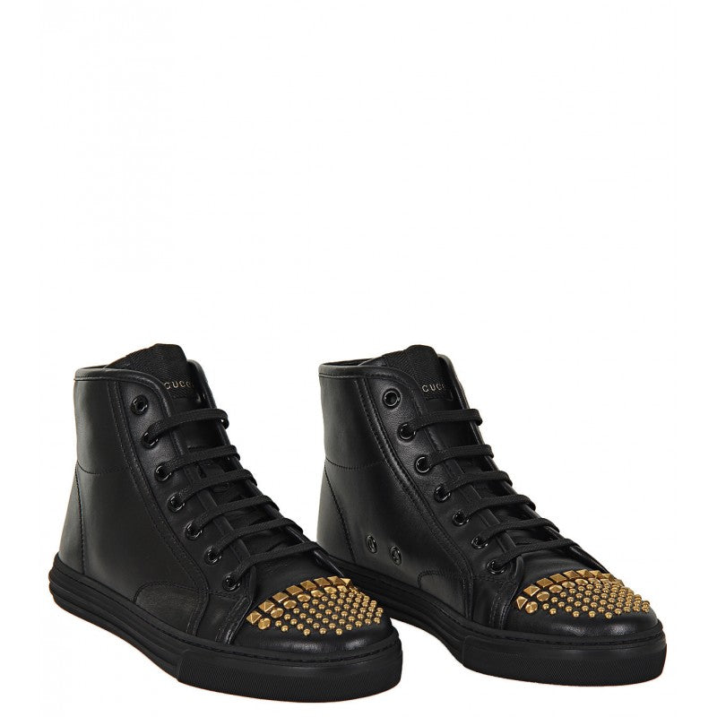Black leather studded high top sneakers