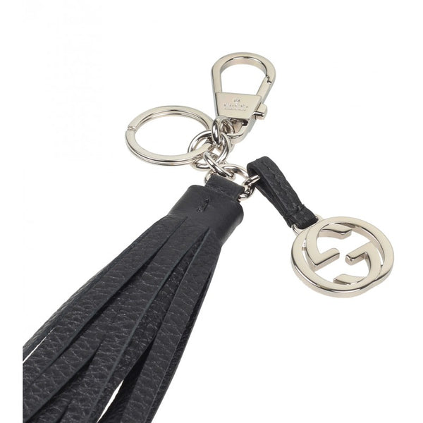 Gucci Black leather tassel charm