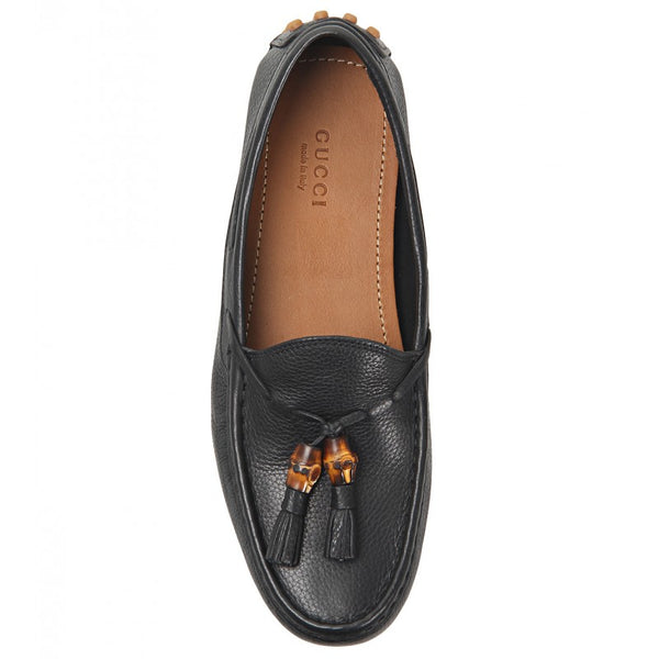 Black leather unlined lace-up driver shoes