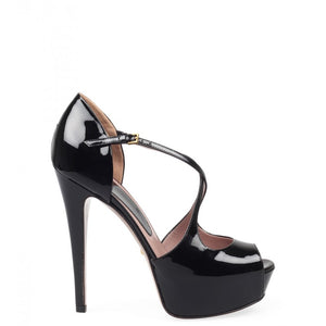 Black patent leather Lili open-toe pumps