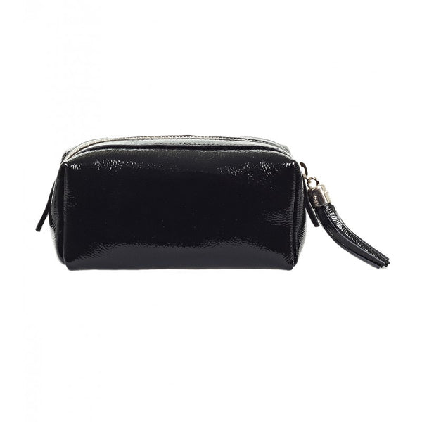 Black patent leather Soho cosmetic bag