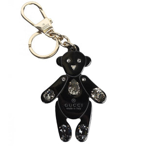Black plexiglass crystals teddy bear key ring charm