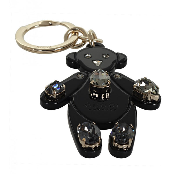 Black plexiglass crystals Teddy Bear key ring
