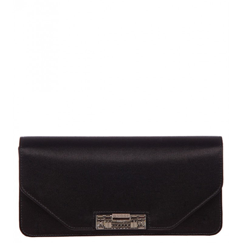 Black satin 58 crystal embellished clutch bag