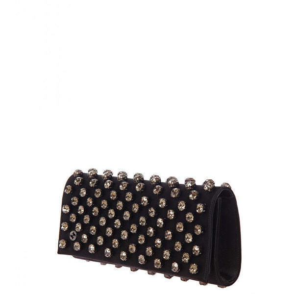 Black satin Broadway Swarovski crystal clutch bag