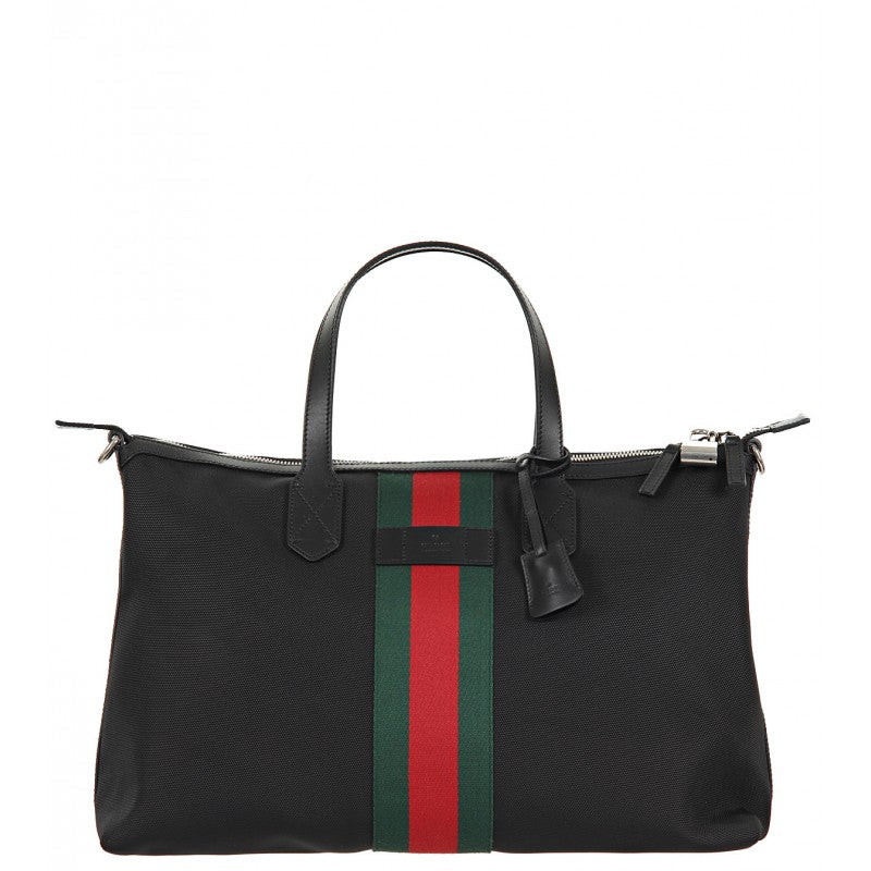 Black techno canvas duffle bag