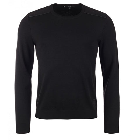 Black wool crew neck sweater with leather piping