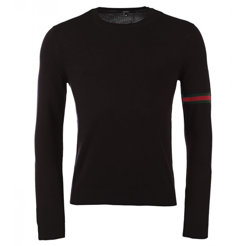 Black wool crew neck sweater