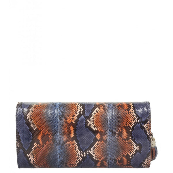 Blue & brown python Soho clutch