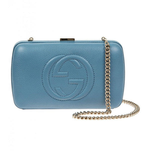 Blue leather Broadway clutch bag